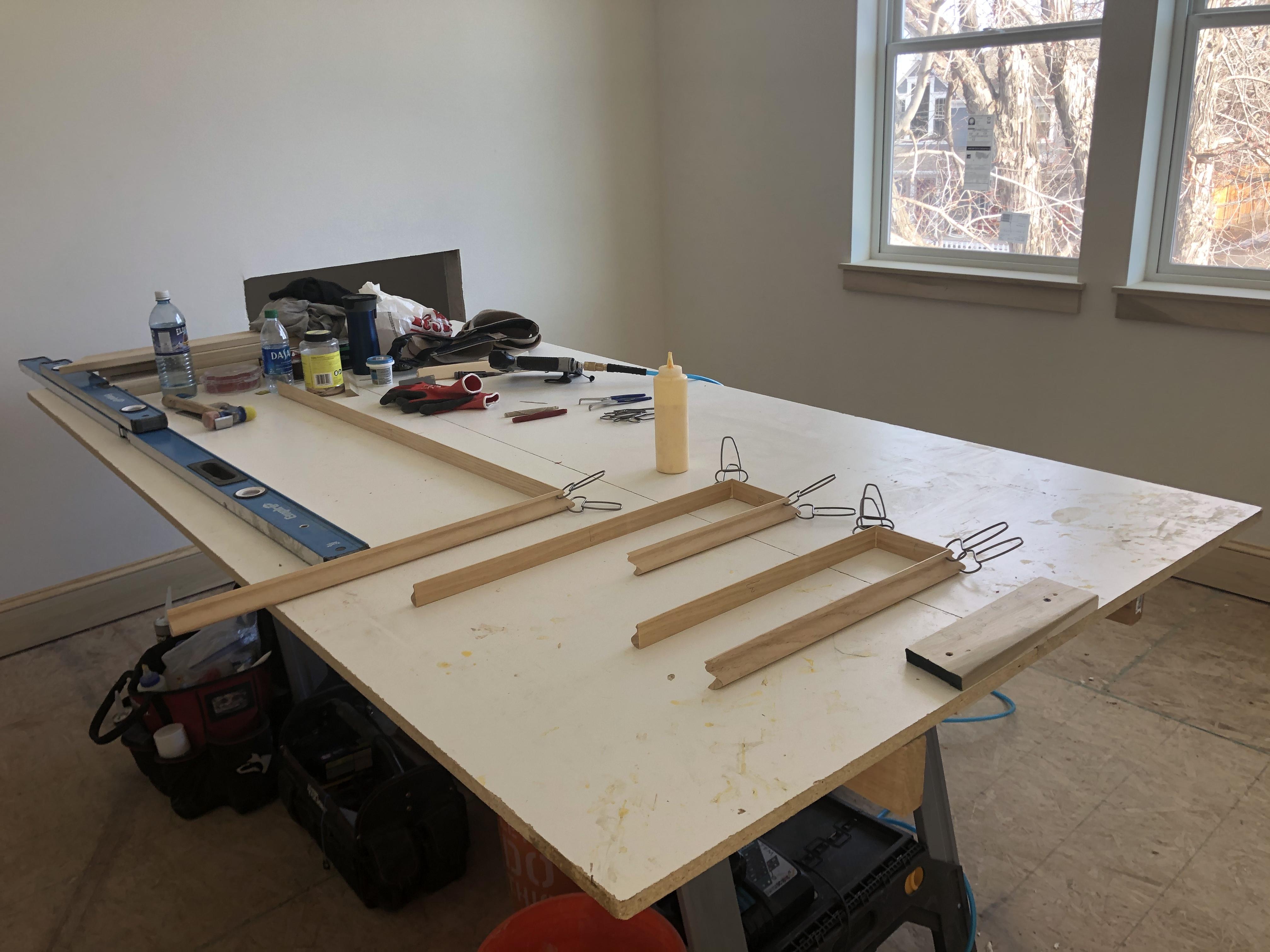 Pre-assemble moulding baseboard casing trim