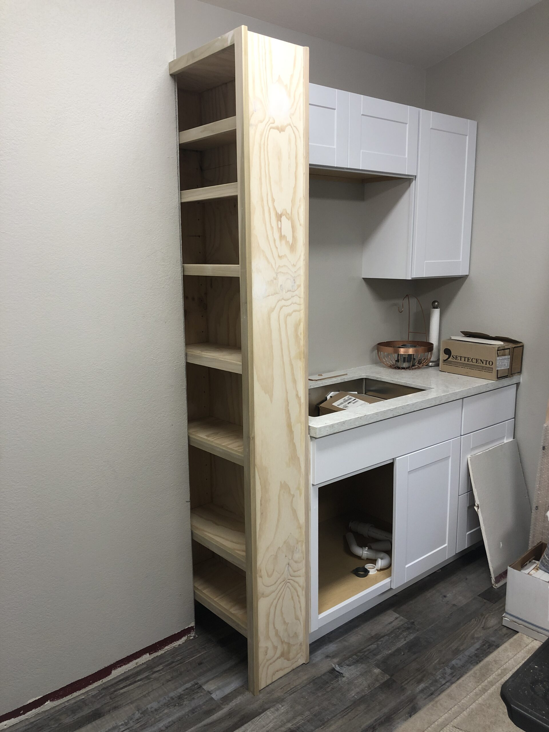Custom built in cabinet. Poplar, paint grade.