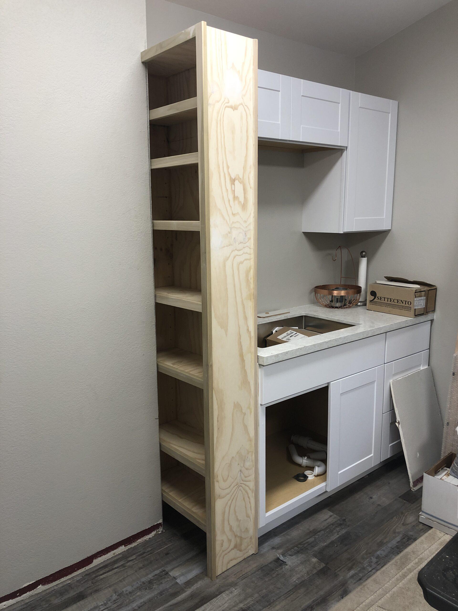 Custom built in cabinet. Poplar, paint grade.